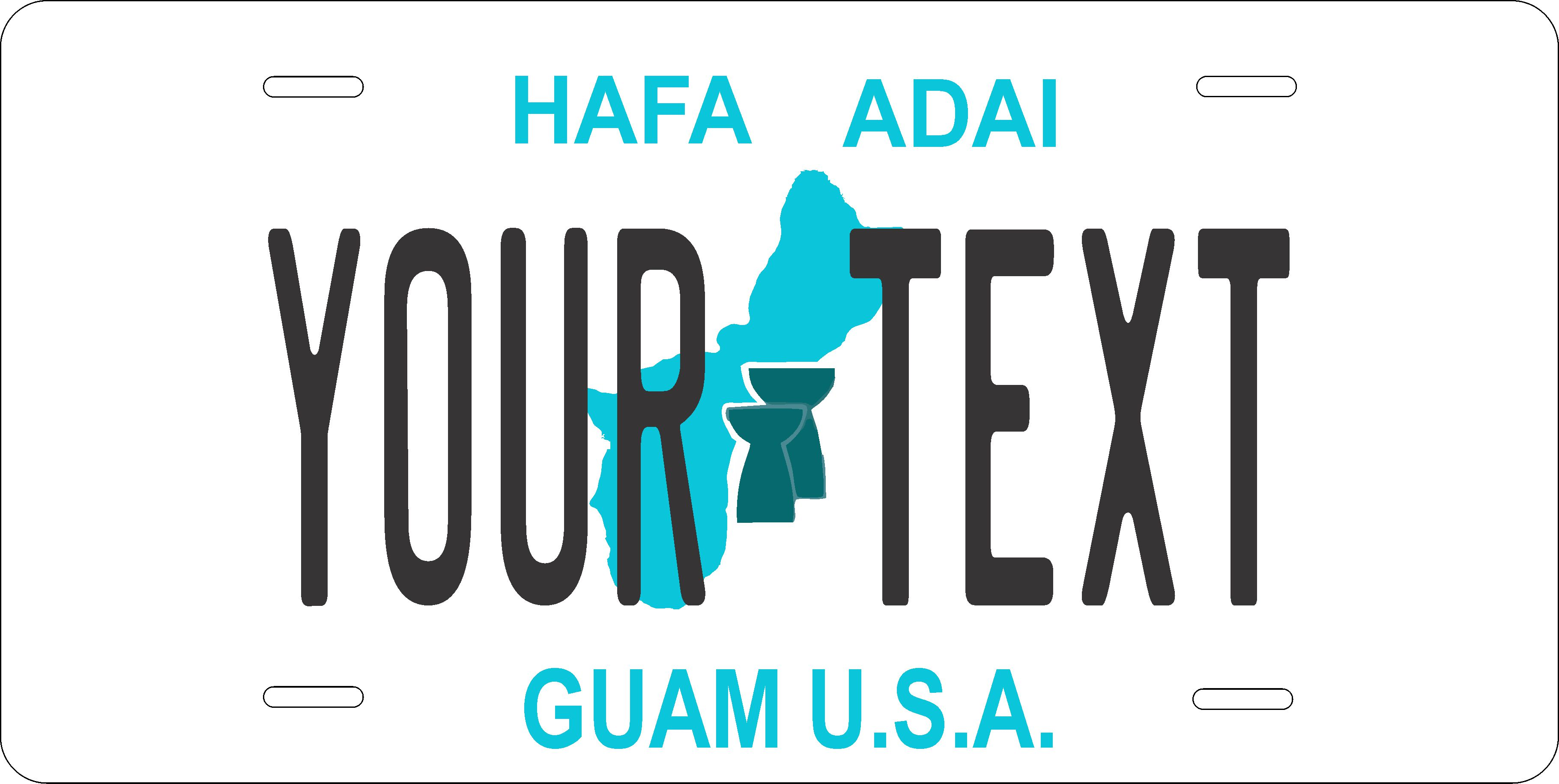Guam 1986-93 License Plate Personalized Custom Auto Bike Motorcycle Moped